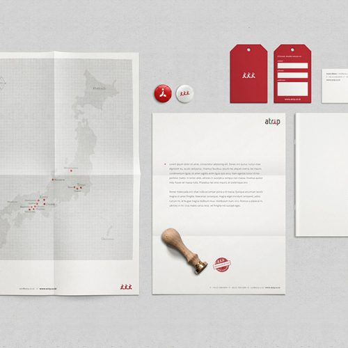 atrip brand essentials - letterhead, bag tag, itinerary, poster, stamp, business card and pins