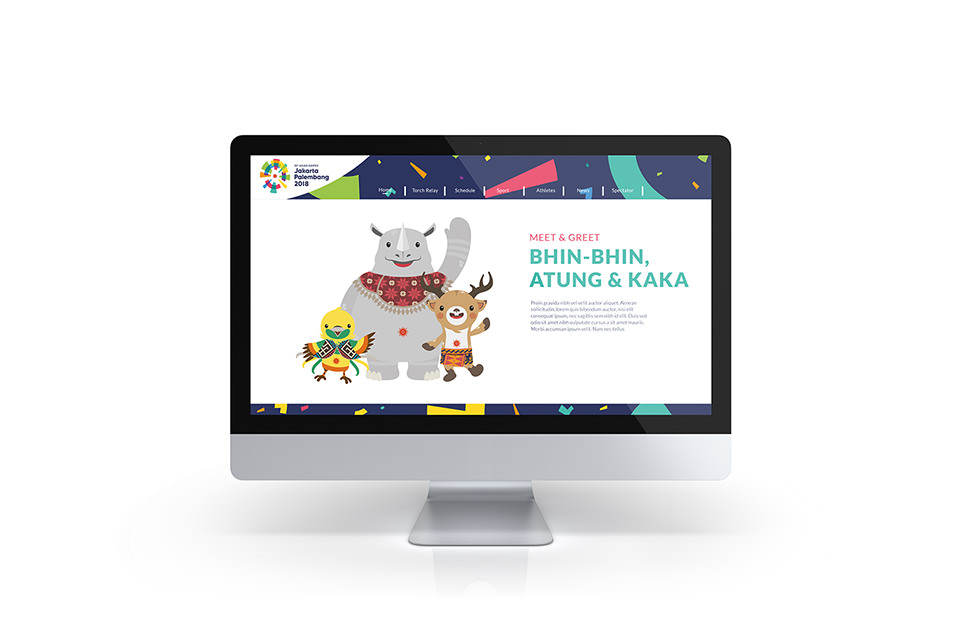 Asian Games 2018 Looks of the game, Website landing page with Mascots welcoming