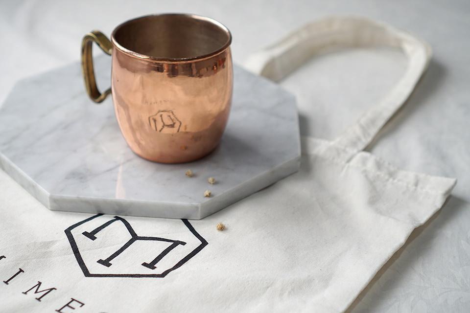 Mimesa tote bag under mimesa cooper mug and marble coaster